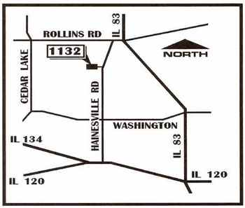 Map to the meeting place of the Church of Christ in Round Lake, Illinois, in Lake County, northwest of Chicago